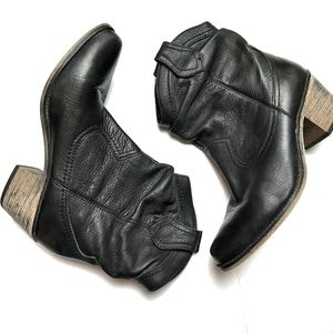 Aldo Black Leather Pull on Cowboy Ankle Boots